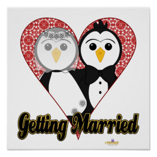 Penguins Wedding Lace Heart Getting Married Poster