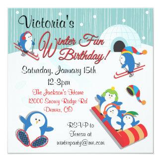 Penguin's Winter Fun Birthday Invitations