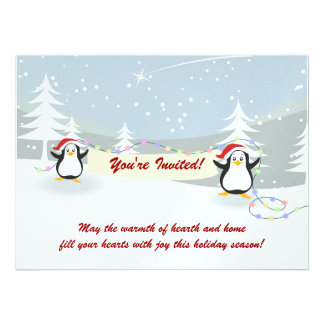 Penguins Winter Scene Holiday Party Invitations