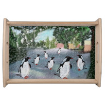 Penguins Winter Serving Tray