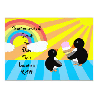 Penguins with ice cream and rainbow personalized announcements