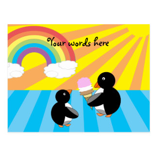 Penguins with ice cream and rainbow post cards