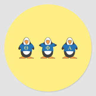 Penguins with Shirts Classic Round Sticker