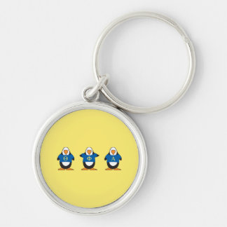 Penguins with Shirts Key Ring