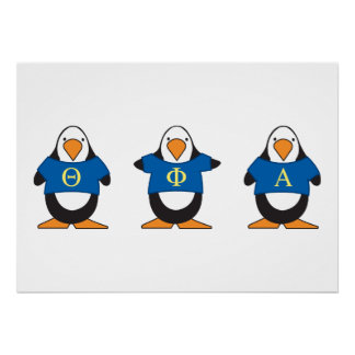 Penguins with Shirts Poster