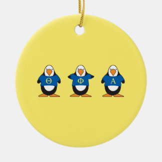 Penguins with Shirts Round Ceramic Decoration