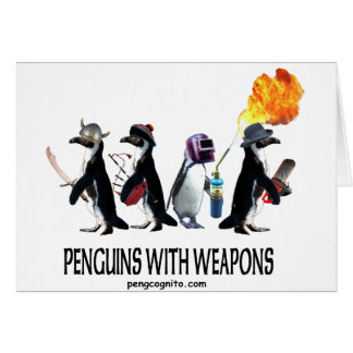 penguins with weapons card