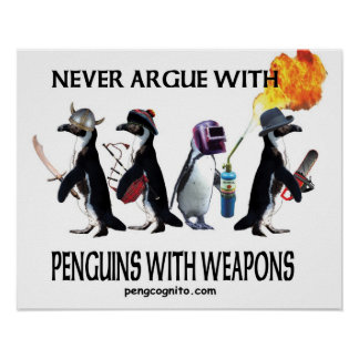 penguins with weapons poster