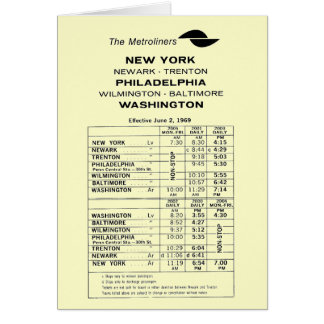 Penn Central Railroad Metroliner Timetable Greeting Card