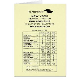 Penn Central Railroad Metroliner Timetable Note Card