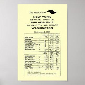 Penn Central Railroad Metroliner Timetable Poster