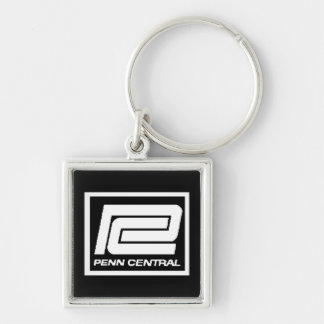 Penn Central Railway Company Logo Silver-Colored Square Key Ring