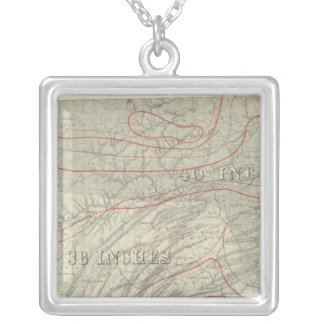Penn climatological map silver plated necklace