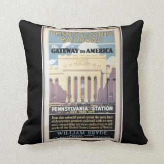 Penn Station,Gateway To America 1929 Throw Cushions