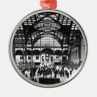 Penn Station New York City Vintage Railroad Silver-Colored Round Decoration