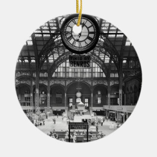 Penn Station New York Magic Lantern Slide Vintage Round Ceramic Decoration