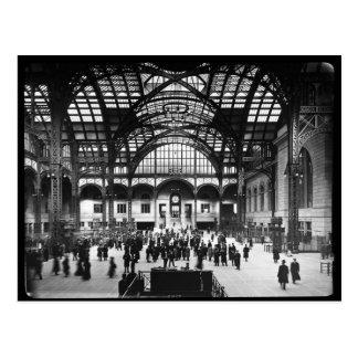 Penn Station NYC 1910 Magic Lantern Slide Postcard
