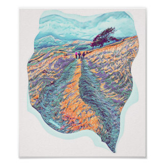 Pennant Valley road in Turquoise and Orange Poster