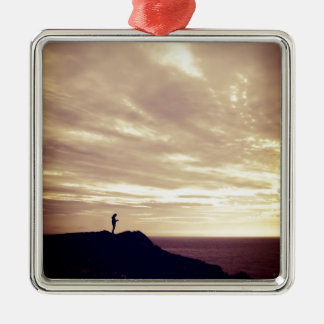 Pennard cliffs at sunset, Gower, Swansea Silver-Colored Square Decoration