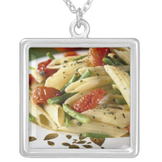 Penne with vegetables For use in USA only.) Square Pendant Necklace