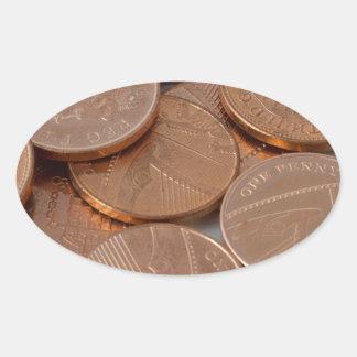 pennies design oval sticker