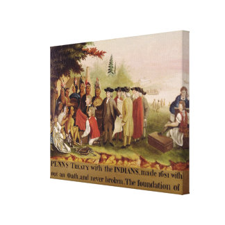 Penn's Treaty with the Indians in 1682, c.1840 Canvas Print