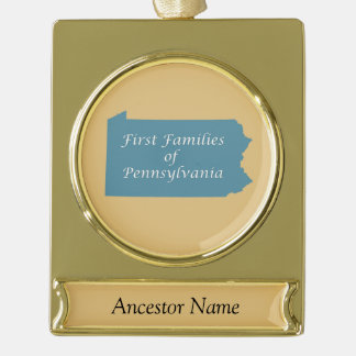 Pennsylvania Ancestor Gold Plated Banner Ornament