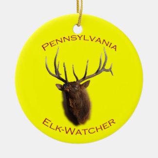 Pennsylvania Elk Watcher Round Ceramic Decoration