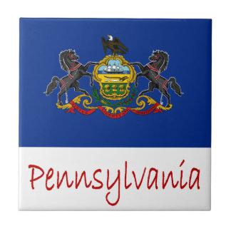 Pennsylvania Flag And Name Small Square Tile