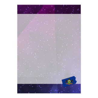 Pennsylvania Flag Map on abstract space background 13 Cm X 18 Cm Invitation Card