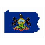 Pennsylvania Flag Map Postcard