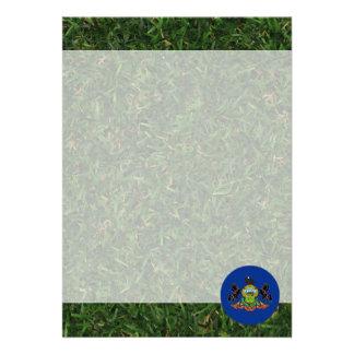 Pennsylvania Flag on Grass 13 Cm X 18 Cm Invitation Card
