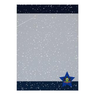 Pennsylvania Flag Star In Space 13 Cm X 18 Cm Invitation Card