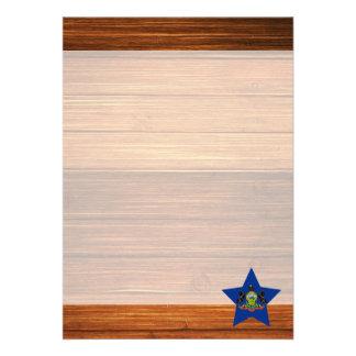 Pennsylvania Flag Star on Wood 13 Cm X 18 Cm Invitation Card
