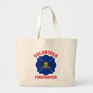 Pennsylvania Flag Volunteer Firefighter Cross Jumbo Tote Bag