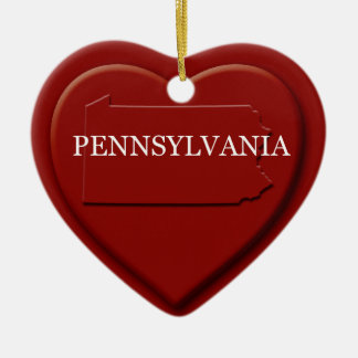Pennsylvania Heart Map Christmas Ornament