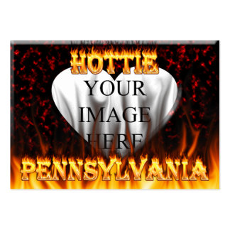 Pennsylvania Hottie fire and red marble heart Pack Of Chubby Business Cards