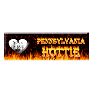 Pennsylvania Hottie fire and red marble heart Pack Of Skinny Business Cards