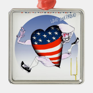 pennsylvania loud and proud, tony fernandes Silver-Colored square decoration