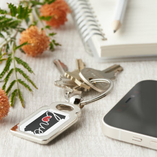 Pennsylvania Love!  Gifts for PA Lovers Silver-Colored Rectangle Key Ring