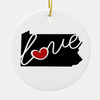 Pennsylvania Love!  Gifts for PA Lovers Round Ceramic Decoration