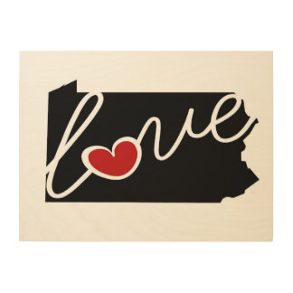 Pennsylvania Love!  Gifts for PA Lovers Wood Canvases