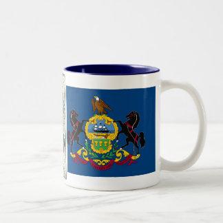 Pennsylvania Map and State Flag Two-Tone Coffee Mug