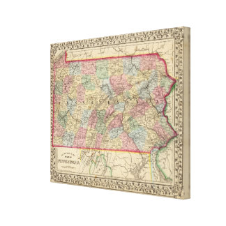 Pennsylvania Map by Mitchell Canvas Print