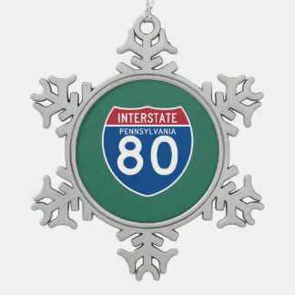 Pennsylvania PA I-80 Interstate Highway Shield - Pewter Snowflake Decoration