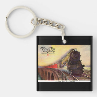 Pennsylvania Railroad Broadway Limited Double-Sided Square Acrylic Key Ring