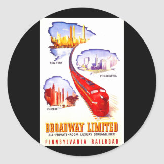 Pennsylvania Railroad Broadway Limited Streamliner Classic Round Sticker