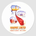Pennsylvania Railroad Broadway Limited Streamliner Round Sticker