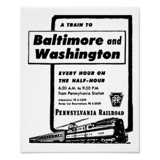 Pennsylvania Railroad Hourly Trains 1948 Poster