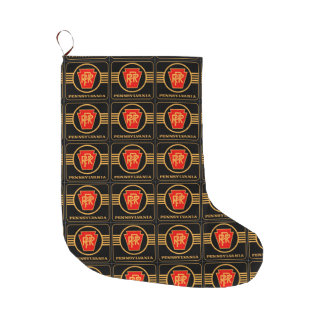 Pennsylvania Railroad Logo Black + Gold Large Christmas Stocking